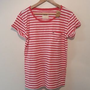 Hollister New Rolled Sleeve Pink White Strip Tee L